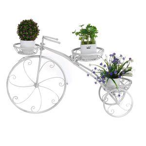 Blumentreppe Pflanzenständer Fahrradform Blumenständer Pflanz Metall 52*41*8cm Weiss