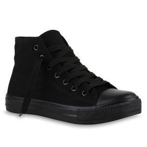 Mytrendshoe Damen Sneakers High Top Sportschuhe Stoffschuhe Freizeit Schnürer 816751, Farbe: Schwarz, Größe: 41