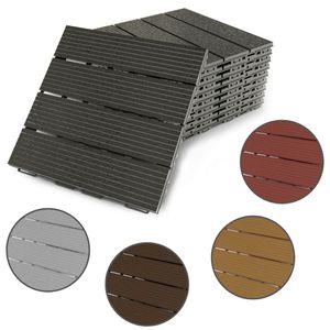 Terrassenfliesen Fortena (graphit) 30x30cm, 8 Stück, 0,72 qm, Anti-Rutsch-Oberfläche, Klickfliesen aus Kunststoff in Holzoptik, Bodenbelag, witterungsbeständig: Graphit
