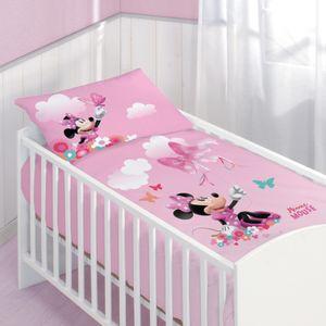 Disney Minnie Mouse Baby-Bettwäsche 40x60 cm + 100x135 cm · Kinder-Bettwäsche in Biber / Flanell - 100% Baumwolle