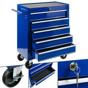 AREBOS Werkstattwagen Werkzeugwagen Rollwagen Toolbox 5 Schubladen kugelgelagert Blau