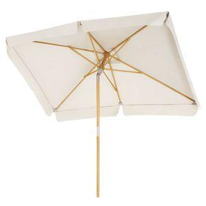 SONGMICS Sonnenschirm für den Balkon, 300 x 200 cm, Sonnenschutz bis UPF 50+, Schirmmast, Schirmrippen aus Holz, knickbar, ohne Ständer, beige GPU300M01