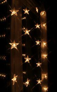 LED Lichtervorhang 'Star Curtain' mit 50 Sternen - 50 warmweiße LED - 90x200cm - inkl. Trafo
