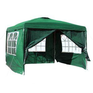3x3m Pavillon grün abnehmbare Seitenteile Garten Party Festzelt Bierzelt Camping