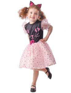Katzen-Kostüm für Mädchen Faschingskostüm schwarz-rosa
