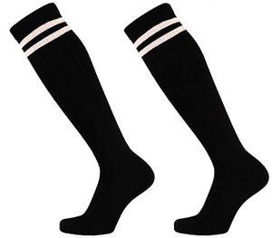 krautwear Damen Mädchen Kniestrümpfe 2 Streifen Gestreift (2x schwarz)