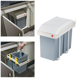 Das Einbau-Mülltrennungs-System - unauffällig am festen Platz und doch sofort ausfahr- und aufnahmebereit. Mit zwei herausnehmbaren Inneneimern (2 x 14 l).