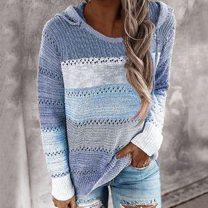 Damen Kapuze Leichte Strickpullover Langarm Streifen Pullover Sweatshirt Top SFW200817312 Größe:S,Farbe:Blau