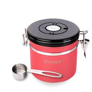 Schramm® Kaffeedose 1200 ml in 10 Farben mit Dosierlöffel Höhe: 12cm Kaffeedosen Kaffeebehälter aus Edelstahl , Farbe:Rot