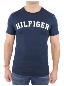 Tommy Hilfiger Herren Gewölbtes Logo-T-Shirt, Blau L