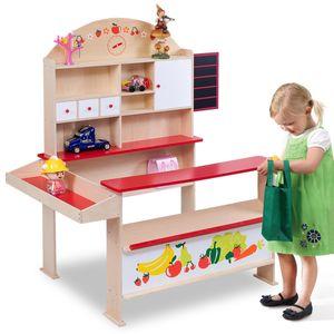 COSTWAY Kaufladen Kaufmannsladen Kinderkaufladen Einkaufsladen Verkaufsstand Marktstand fuer Kinder mit Tafel aus Holz