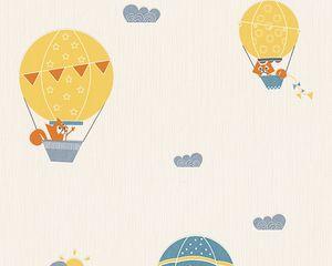 Esprit Home Kids Vliestapete Flying Balloon blau creme orange 10,05 m x 0,53 m 302952