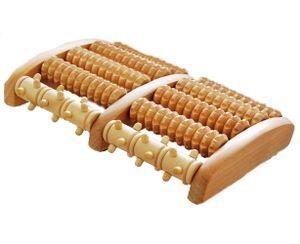 Davartis - Fussmassageroller aus Holz - rotierende Noppenspitzen