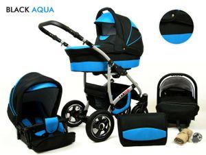 Kinderwagen Largo Alu,3 in 1 -Set Wanne Buggy Babyschale Autositz mit Zubehör Black Aqua