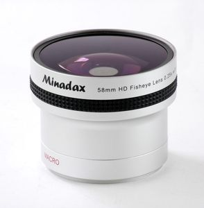 Minadax 0.25x Fisheye Vorsatz kompatibel mit Canon Powershot A650 IS - in silber