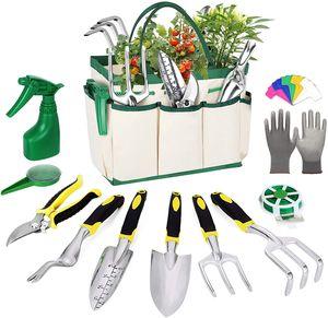Gartenwerkzeuge 12-teiliges Gartenwerkzeug Set, Gartenarbeit Mit Unkrautstecher Gartenschere Gartenschaufel Edelstahl Robuste Leicht Gartenwerkzeug Set,Gelb