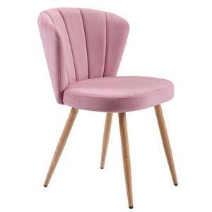Esszimmerstuhl Wohnzimmerstuhl Küchenstuhl aus Samt & Metallbeine mit Rückenlehne, Rosa