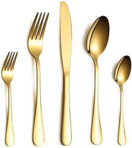 Besteck Set, Gold Besteck Set, Edelstahl Set Service für 6 Personen, 30 Stück Esszimmer Besteck