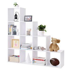 VASAGLE Bücherregal mit 10 Fächern | Raumteiler weiß 129,5 cm | Treppenregal aus Holz| Ausstellungsregal | freistehendes Regal LBC10WTV1