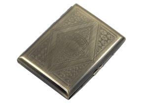 """ATTUY® """"Business Singapore"""" hochwertiges Premium Zigarettenetui in der Geschenkbox für 16 Zigaretten, Farbe Kupfer im Metall-Look, Etui mit Metallspange / Klammerhalterung mit Bravour-Muster"""