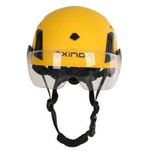 Klettern Helm Sicherheit Kopfschutz Einstellbar Harte Hut mit Visier für Outdoor Sport Aktivitäten Kletterhelm 53-61 cm Gelbe Schutzbrille