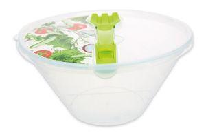 Salatschüssel Frischhaltedose Schüssel transparent mit Deckel und Salatbesteck 4 Liter