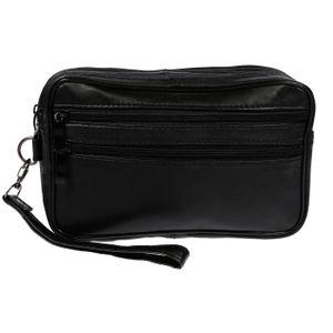 XL echt Leder Doppelkammer Handgelenktasche Herrentasche Tasche Schwarz NEU