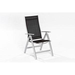 Klappsessel Palma-29 Aluminium, Textilgewebe silber/ schwarz , BxHxT: ca. 70x108x60cm