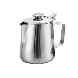 Milchkännchen Edelstahl Espresso Aufschäum Kännchen Milch Kanne mit Deckel Silber Milchschaumkrug Modern 600 ml