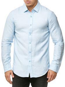 Herren Hemd Slim Fit Langarm Casual Freizeithemd Einfarbig, Farben:Hellblau, Größe Hemd:L