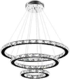 72W LED Kristall Hängeleuchte Kronleuchter Pendelleuchte Deckenlampe Dimmbar Lüster 3-Ring LED Lamp