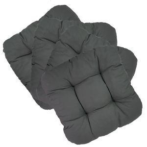 Stuhlkissen Capri 38 x 38 cm 4er Set - gemütliche Sitzkissen mit 8 cm Polsterstärke - bequeme und dekorative Softkissen für Indoor & Outdoor, Farbe:Anthrazit