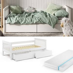 VitaliSpa Tagesbett Luna Kinderbett 90x200cm mit Matratze Schubladen Jugendbett