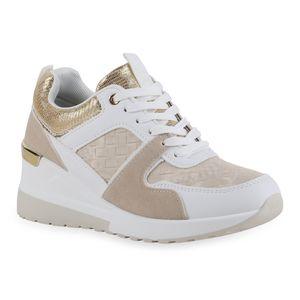 Giralin Damen Sneaker Keilabsatz Schnürer Metallic Schnür-Schuhe 836714, Farbe: Weiß Beige Gold Metallic, Größe: 36