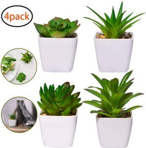 4 Stück Kunstpflanzen außenbereich Kunstpflanzen badezimmer Kunstpflanzen im Topf Künstliche Sukkulenten Tischdeko Haus Balkon Büro Deko