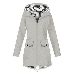 Frauen Solid Rain Jacke Outdoor Plus Size Wasserdichte Kapuze Winddichter lockerer Mantel Größe:XXL,Farbe:Grau