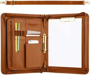 ONVAYA® Konferenzmappe mit goldenem Tragegurt - cognac