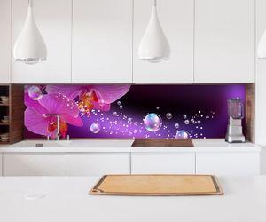 Aufkleber Küchenrückwand Orchidee Blume lila rosa Wasser Folie selbstklebend Dekofolie Fliesen Möbelfolie Spritzschutz 22A840, Höhe x Länge:60cm x 60cm