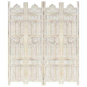 4tlg. Paravent Vintage | Raumteiler Raumtrenner | Balkonsichtschutz | Handgeschnitzt Weiß 160×165cm Mango Massivholz - direkt vom Hersteller HOM491968
