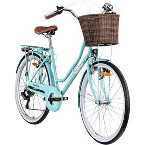 Galano Belgravia 26 Zoll Cityrad 6 Gang Damenfahrrad Mädchenrad Citybike mit Korb, Farbe:hellblau, Rahmengröße:18 Zoll