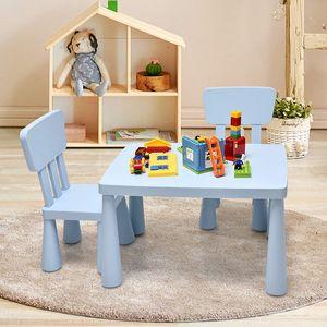 COSTWAY 3 TLG. Kindersitzgruppe, Kindertischgruppe, Kindertisch mit 2 Stühlen, Kindermöbel aus Kunststoff, Kinder Tischset für Kindergarten und Kinderzimmer (Blau)
