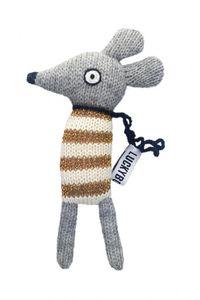 LuckyBoySunday kuschelmaus junior 14 cm Alpaka-Wolle grau/gelb