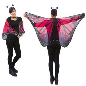 Oblique Unique Schmetterlingsflügel Umhang Schmetterling Kostüm Karneval - lila pink