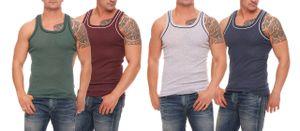 Herren Unterhemden , Farbe:4x grau/dklblau & grün/bordeaux, Größe :6