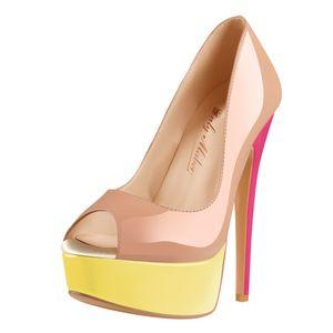 Only maker Damen Peeptoes Plateau Pumps Elegante Stiletto High Heels für Kleid Party Mehrfarbig 44 EU