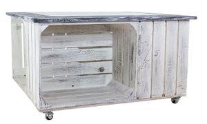 1x Angesagter Couchtisch quadratisch in schwarz, Shabby Look, mit gerahmter Glasplatte & Stauraum für Bücher / Deko, neu, 85x85cm