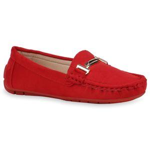 Mytrendshoe Damen Slippers Mokassins Bequeme Slip On Freizeitschuhe Schnalle 832930, Farbe: Rot, Größe: 38