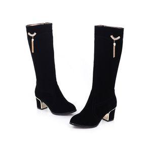 IELGY Damenstiefel 6CM High Heels Wildleder mit mittlerem Absatz Komfortable Takato Western-Art Einfarbig
