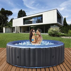 Miweba MSpa Whirlpool 2021 Comfort Bergen C-BE061, Garten & Outdoor-Whirlpool aufblasbar, 6 Personen (Anthrazit/Blau)