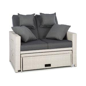 Blumfeldt Komfortzone - Gartensofa , Terrassen-Sofa , Rattan-Sofa , 2 Personen , Sitzpolster , stabiles Stahlrohr , ausziehbarer Fußteil , klappbare Rückenlehne , bis 200 kg , inkl. 2 x Kissen , weiß
